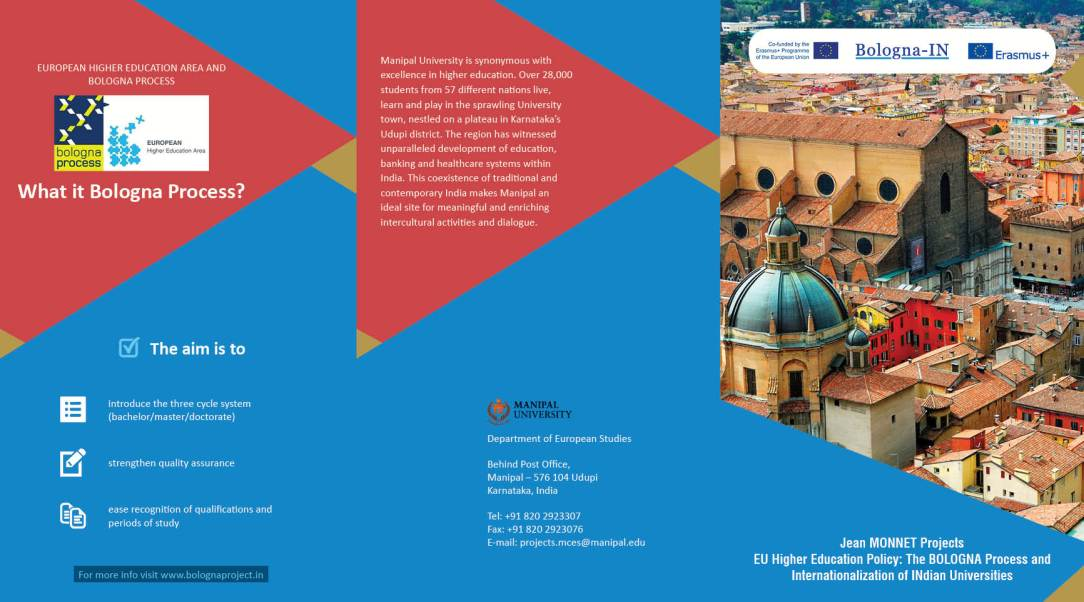 The Bologna-IN project brochure Jean MONNET Projects - EU Higher Education Policy: The BOLOGNA Process and Internationalization of Indian Universities